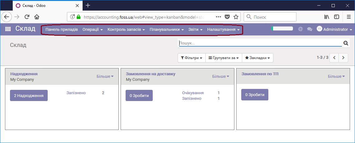 Пункти меню модуля Склад