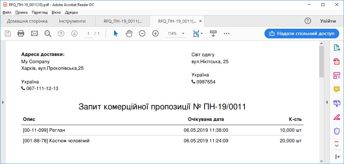 Файл з запитом на постачання товарів