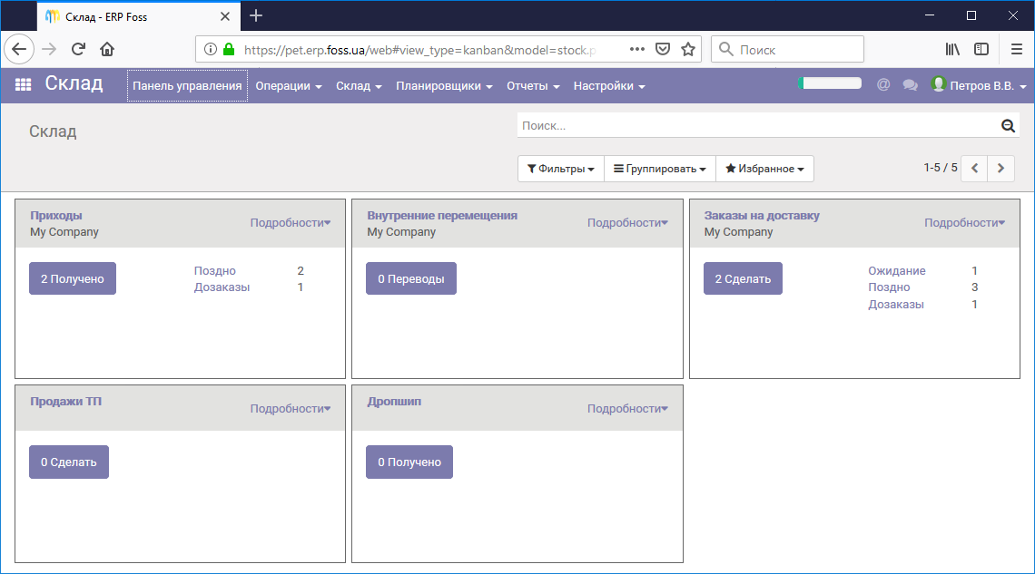 Панель управления модуля Склад